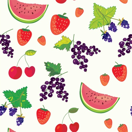 Fruits and berry funny seamless pattern Vector