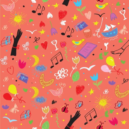 Party seamless pattern with wine, music symbols and flowers cartoon Vector