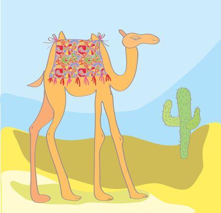 Camel with cactus in the desert cartoon Vector
