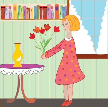 Girl child arranging flowers in the room cartoon Illustration