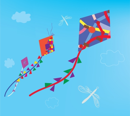 Kites and dragonfly in the sky background Vector