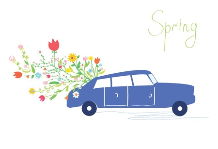 Car and flowers spring card retro design Vector