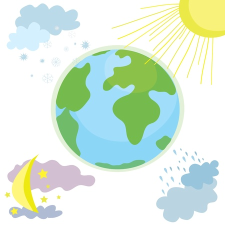 cloudy day: Globe weather icon with day and night cartoon
