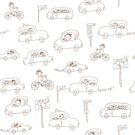 Kids and cars seamless funny pattern Vector