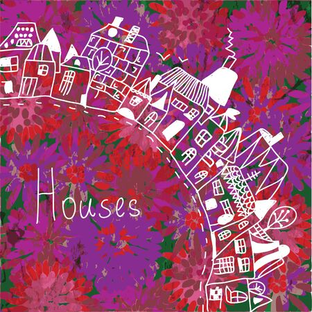immovable: Houses silhouette on the floral background card Illustration