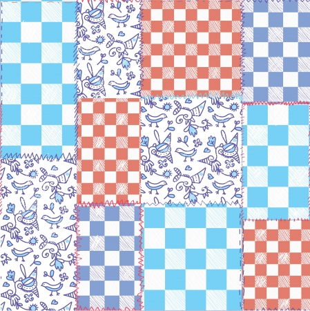 Dutch seamless plaid pattern - delfts blue design Vector