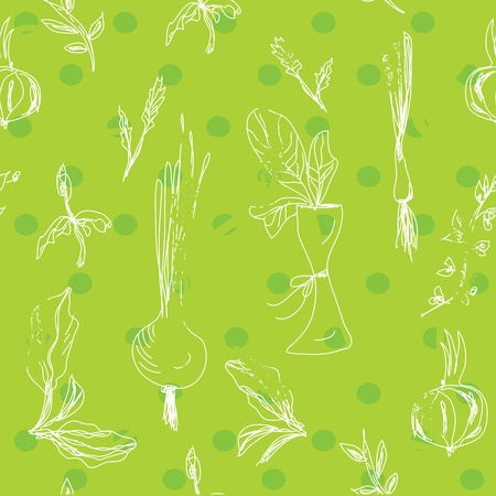 Salad vegetables seamless pattern in green Vector