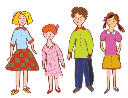 fraternidad: Divertido niños de dibujos animados grupo de colores vivos Vectores