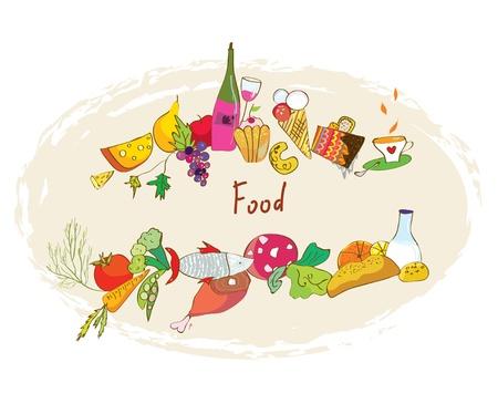 Food banner with meal, wine, desserts frame design Vector