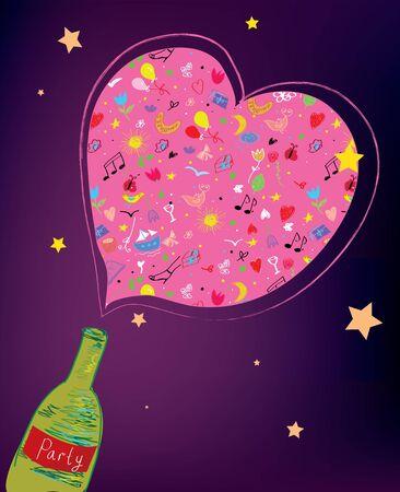 popping cork: Party bottle background funny design Illustration