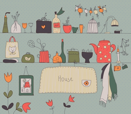 paiting: Kitchen shelf vintage background with accessories