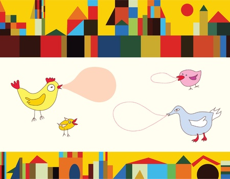hen and chicken: Funny birds and city background banner Illustration