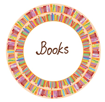 Book frame circle design with many items Illustration