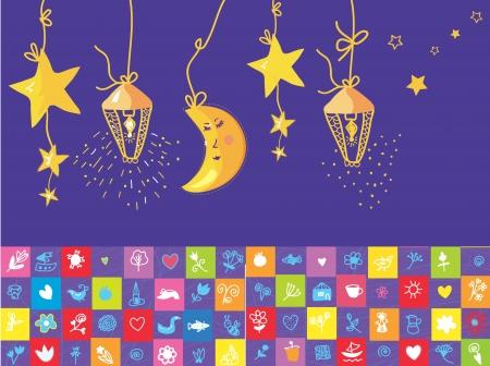 Moonlight lanterns: Bé đêm biểu ngữ với ngôi sao, mặt trăng, các đối tượng hài hước Hình minh hoạ