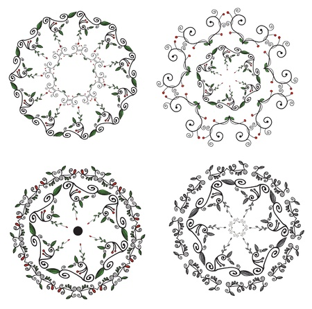 Circle ornaments floral set - hand drawn design Stock Vector - 19061107