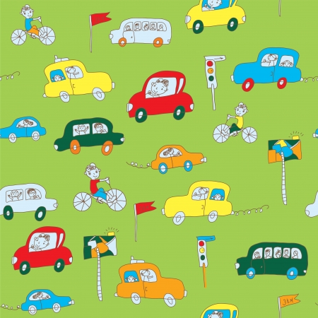 Kids in the car seamless pattern funny design Vector