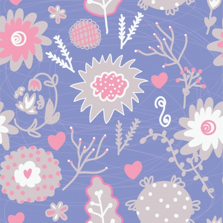 Floral seamless tender pattern with hearts and berries Vector