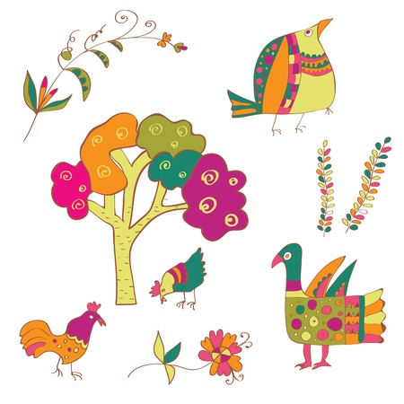 Traditional birds and flowers ethnic set Vector