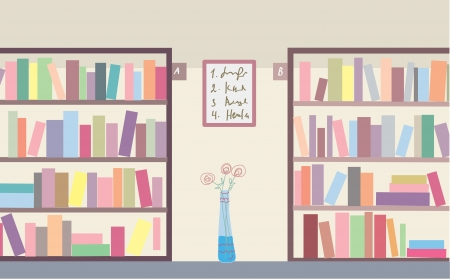 Library with bookshelves interior Illustration