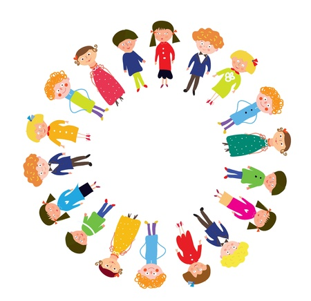 Kids in the circle funny cartoon Vector