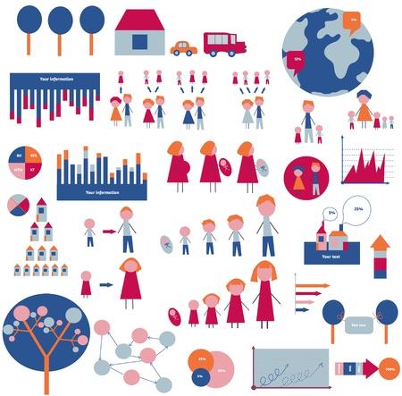 árbol genealógico: Elementos de Infografía de la familia y de la casa - diseño divertido Vectores