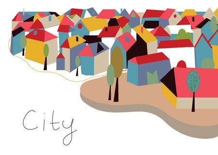 old town: Town with houses and trees card Illustration
