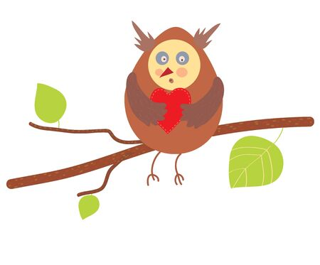 Owl in love funny design element Vector