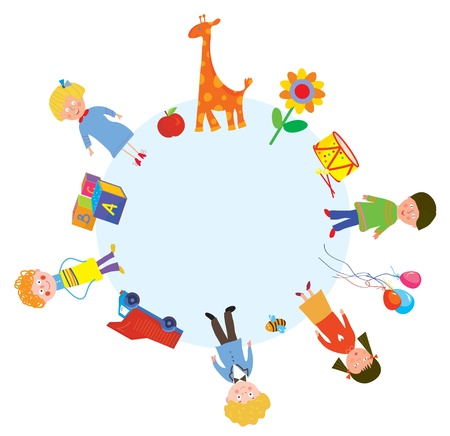 children circle: Children and toys in the circle design