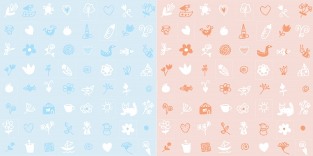Baby seamless pattern simple cute design set Stock Vector - 19727254