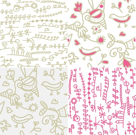 Set of seamless floral patterns with birds funny design Vector