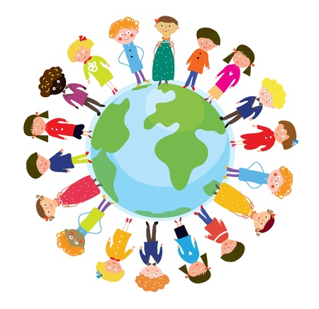 brotherhood: Children on the globe international funny cartoon Illustration