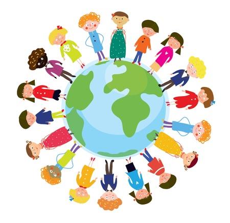fraternidad: Los niños en el mundo internacional de dibujos animados divertidos