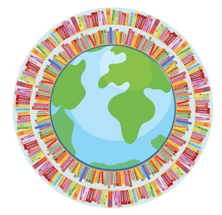 spiral book: Globe and book education concept illustration Illustration