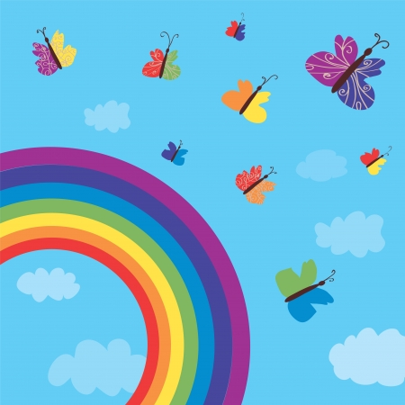 Rainbow and butterflies background funny design Vector