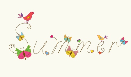 Summer banner word with bird and butteflies funny design Vector