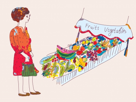 watermelon woman: Woman at the fruit and vegetables market cartoon