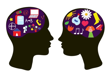 Brains of man and woman - thinking concept illustration Vector