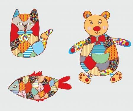 homespun: Juguetes Patchwork - gato, pez, oso - dise�o divertido