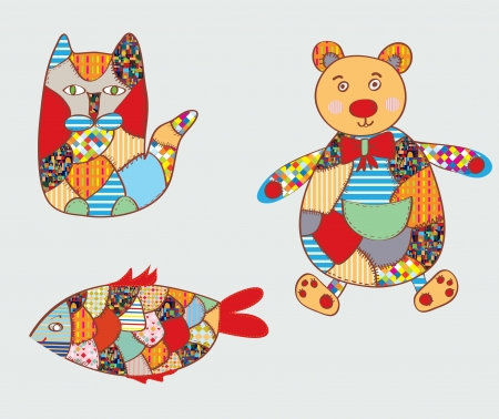 Patchwork toys - cat, fish, bear - funny design  Vector