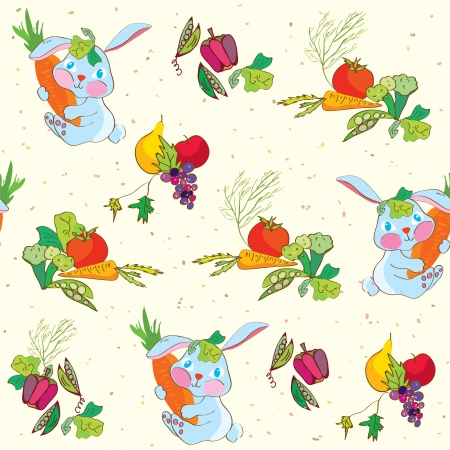 Rabbit and vegetables seamless pattern funny design Vector