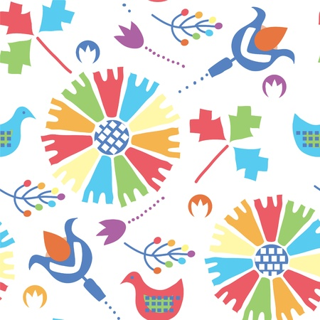 etnic: Etnic seamless pattern with birds and flowers traditional design