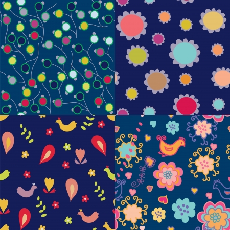 Simple design floral seamless pattern set in blue color Vector