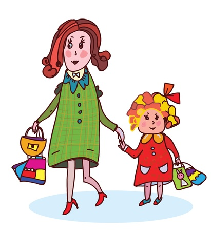Mother and child shopping funny cartoon Stock Vector - 20330351