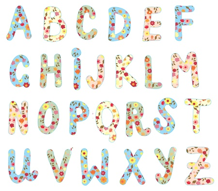 Alphabet floral set - cute design Vector