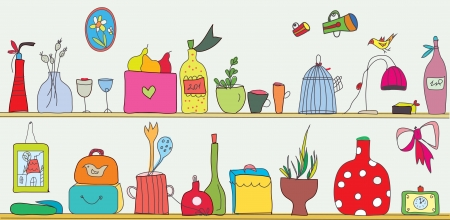 Funny kitchen shelf with utensils and flowers  Vector
