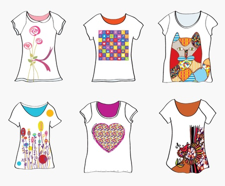 T-shirts design templates with funny paintings and patterns Vector