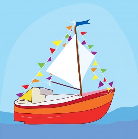 coastal: Funny yacht at the sea cartoon Illustration