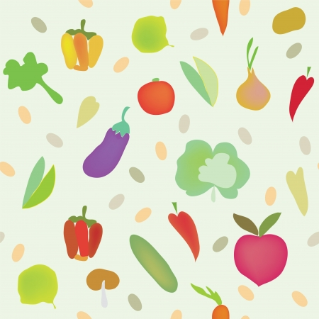 Vegetables seamless pattern with greens  Vector