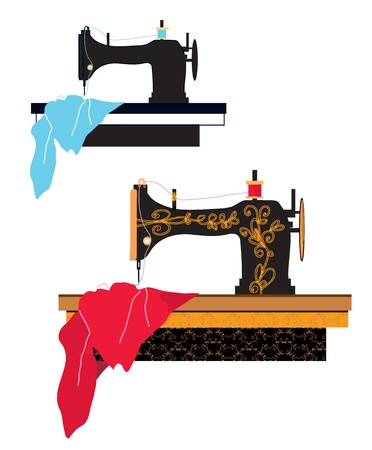 Sewing machine silhouette and design with pattern Vector