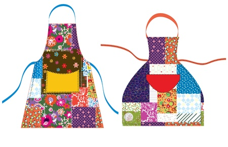 specific clothing: Aprons with patchwork design textile set Illustration